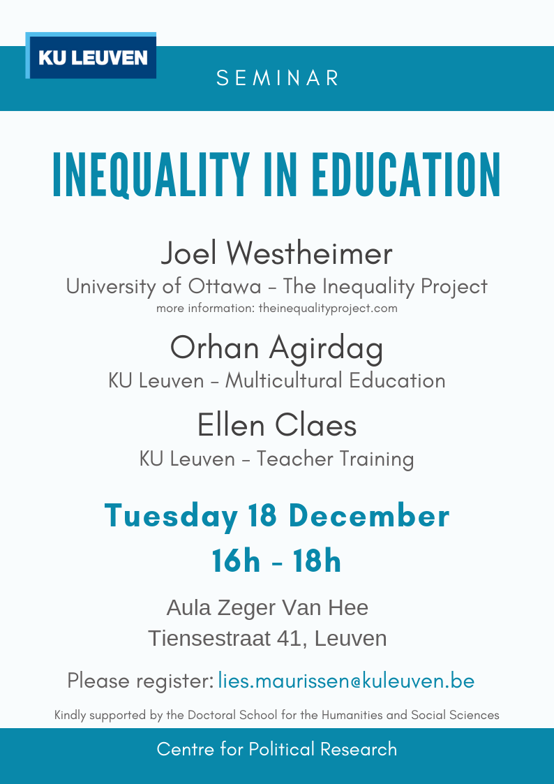 Seminar Invitation Inequality In Education Faculty Of Social Sciences